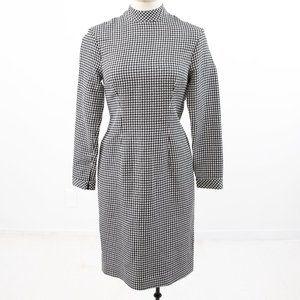 Vintage M Wool Silk Gingham Plaid Check Dress